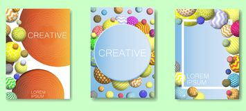 Vector abstract frame multicolor balls background set. Creative abstract frame set. Vector abstract background with multicolor decorative balls royalty free illustration