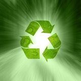 Creative abstract green color recycle symbol Royalty Free Stock Photography