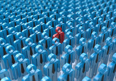 Creative abstract individuality, uniqueness and leadership busin. Ess concept: single red 3D people figure in crowded group of blue figures with selective focus Stock Photo