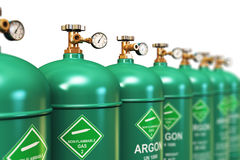 Row of liquefied argon industrial gas containers Stock Images