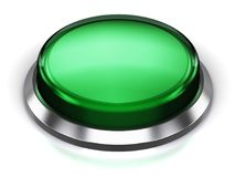 Green round button. Creative abstract internet web design and online communication business concept: 3D render illustration of the green glossy push press button Stock Photos