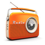 Vintage radio. Old orange vintage retro style radio receiver isolated on white background stock illustration
