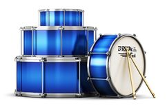 Blue drum set with drumsticks Royalty Free Stock Photography