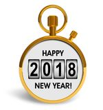 New Year 2018 holiday concept. Creative abstract New Year 2018 beginning celebration concept: 3D render illustration of golden stopwatch with Happy New Year 2018 royalty free illustration