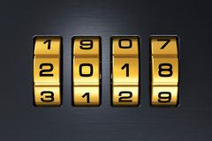 New Year 2018 holiday concept. Creative abstract New Year 2018 concept: 3D render illustration of the macro view of combination lock with 2018 code text vector illustration