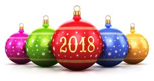 New Year 2018 holiday concept. Creative abstract New Year 2018 and Xmas celebration concept: 3D render illustration of the group of color shiny metallic glass royalty free illustration