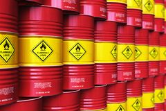 Group of rows of red stacked oil drums in storage warehouse. Creative abstract oil and gas industry manufacturing and trading business concept: 3D render royalty free illustration