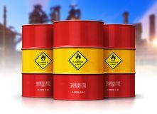 Group of red oil drums in front of refinery plant. Creative abstract oil and gas industry manufacturing and trading business concept: 3D render illustration of stock illustration