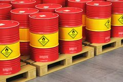 Group of red oil drums on shipping pallets in the storage warehouse. Creative abstract oil and gas industry manufacturing and trading business concept: 3D render royalty free illustration