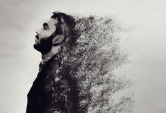 Creative abstract portrait of a guy shattered into pieces royalty free stock image