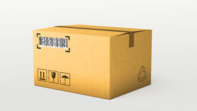 Creative abstract shipping, logistics and retail parcel goods delivery commercial business concept: corrugated cardboard box packa Royalty Free Stock Photos