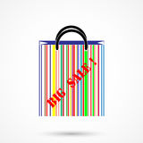 Creative abstract shopping bag logo design with barcode symbol. Stock Images