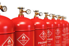 Row of liquefied propane industrial gas containers Stock Images