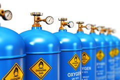Row of liquefied oxygen industrial gas containers Royalty Free Stock Images