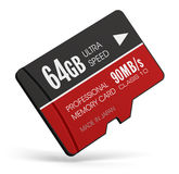 High speed 64GB MicroSD flash memory cards. Creative abstract mobile technology and data storage industry business concept: 3D render illustration of high speed Royalty Free Stock Photography