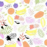 Creative abstract vector seamless background with leaves and fruits. In hand drawn style. Tropical summer mood Royalty Free Stock Photography