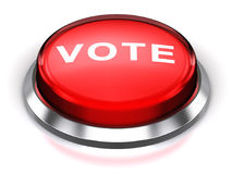 Red round Vote button. Creative abstract voting and election commercial business concept: 3D render illustration of the red glossy round button or icon with Vote Royalty Free Stock Photography