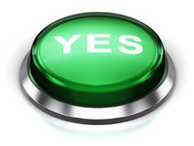 Green round Yes button. Creative abstract voting and survey business communication concept: 3D render illustration of the green glossy round button or icon with Royalty Free Stock Photos