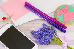 Creative accessories. Mobile with colorful pencils Royalty Free Stock Photos