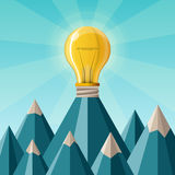 Creative achievement vector concept with mountain peak in flat style Stock Photography