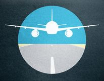Creative airplane drawing. Creative taking off airplane image on dark background royalty free illustration