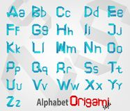 Creative Alphabet Origami with Uppercase and Lowercase fonts Stock Photo