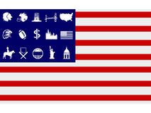 Creative american flag icons vector Royalty Free Stock Images