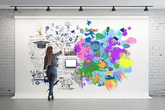 Creative and analytical thinking concept. Back view of girl drawing colorful sketch and mathematical formulas on billboard in room. 3D Rendering Royalty Free Stock Image