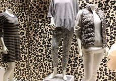 Animal print backdrop with mannequins dressed for cooler weather, downtown Saratoga New York, 2018