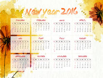 Creative Annual Calendar for New Year 2016. Creative Annual Calendar of 2016 decorated with beautiful abstract flowers for Happy New Year celebration royalty free illustration