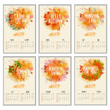 Creative Annual Calendar for New Year 2016. Set of Creative Annual Calendar decorated with beautiful floral design and color splash for Happy New Year 2016 Royalty Free Stock Photos