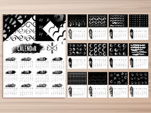 Creative Annual Calendar for New Year 2016. Creative Annual Calendar of 2016 with various abstract design for Happy New Year celebration Stock Images