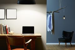 Creative apartmant partitioning office and dressing room royalty free stock photography
