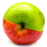 Creative apple. The creative apple combined from two half of red and green color Stock Photo