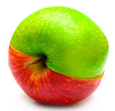 Creative apple. The creative apple combined from two half of red and green color Royalty Free Stock Photo