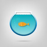 Creative aquarium with a small goldfish. Vector poster. Creative aquarium with a small goldfis Stock Image
