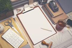 Creative architect desk sketch mockup Royalty Free Stock Photography