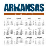A 2017 creative Arkansas calendar. With the state outline Royalty Free Stock Images