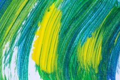 Creative art background hand drawn acrylic painting. Closeup shot of brushstrokes colorful texture acrylic paint on canvas.