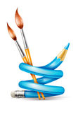 Creative art concept with twisted pencil and brushes for drawing Royalty Free Stock Photos