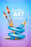 Creative art concept with twisted pencil and brushes for drawing Stock Photo