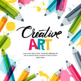 Creative, art and design concept. Vector banner, poster or frame background with calligraphy, pencils, watercolor splash. Creative, art and design concept Stock Photo