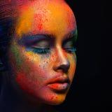 Creative art of make up, fashion model closeup portrait royalty free stock photos