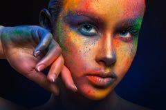 Creative art of make up, fashion model closeup portrait stock photos