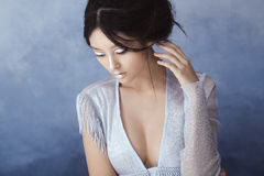 Creative art make-up and hairstyle. Portrait of beautiful asian girl. stock photos