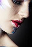 Creative art makeup of a young girl with blue eyes Royalty Free Stock Photos