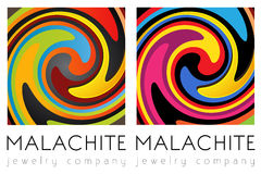 Creative art, malachite template set Royalty Free Stock Photography
