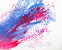 Creative art, modern abstractionism, blue and red. Creativity, abstract art, modern painting. Smeared blue and red colors on white background, fire and water Royalty Free Stock Image
