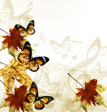 Creative art music background with autumn leafs, notes and butte vector illustration