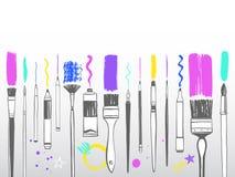 Creative art tools, brush strokes frame, border, background. Creative art tools frame, border, background. Various type of brushes, pen, marker, stylus, oil or Royalty Free Stock Photos